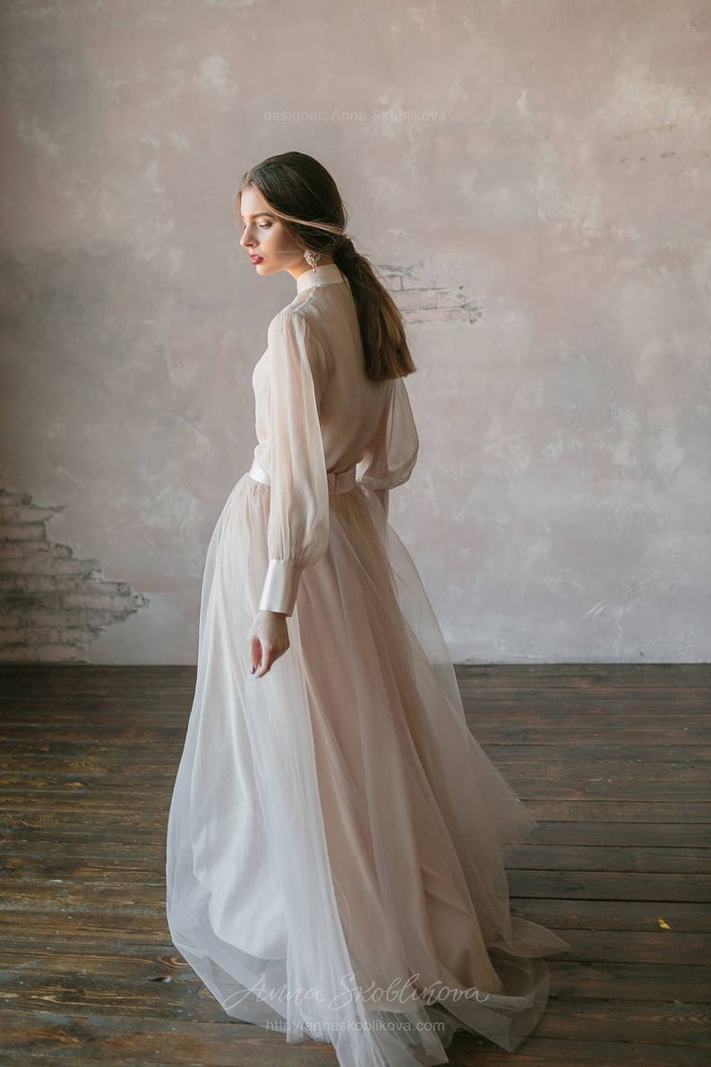 5448976511a6 Vintage wedding dress from natural silk and blush tulle skirt. | Etsy
