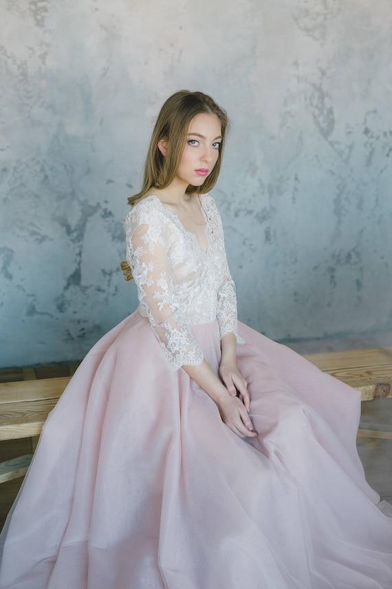 Blush pink wedding dress Pink wedding dress Blush wedding | Etsy