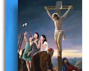 Selfie stick Jesus Card