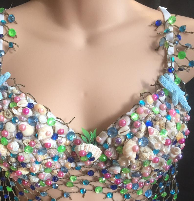 Super sale Designer Mermaid Sea shell Rave Party padded Bra top sz 34c BNWT EDC
