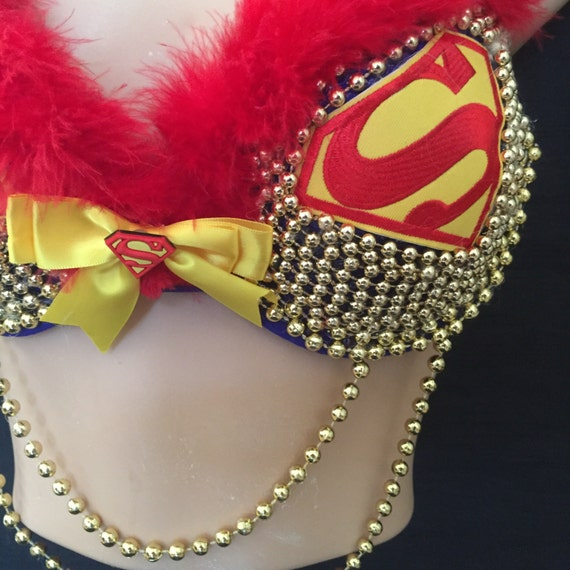 SUPERMAN style Fancy dress Rave bra clubwear dressing up funrun BNWT strapless