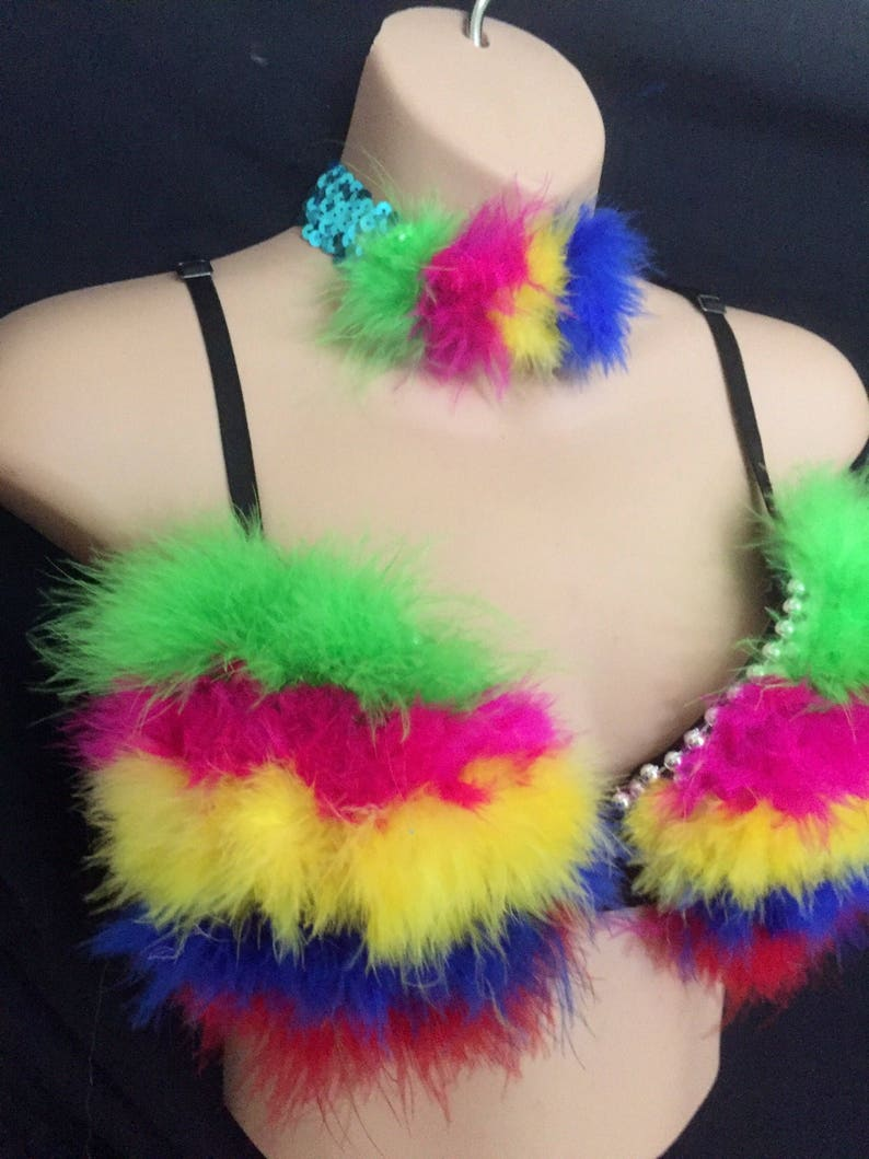 Designer fluffy Neon rainbow rave Bra /& choker 34c Clubwear EDC Party