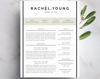 modern resume template and cover letter template for word diy printable resume 4 pack the rachel professional and creative design