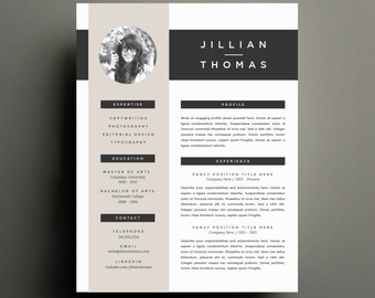 modern resume template and cover letter template for word etsy