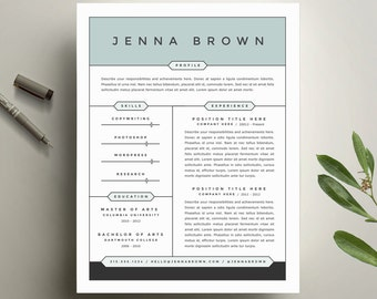 modern resume template and cover letter template for word diy printable resume 4 pack the jenna professional and creative design