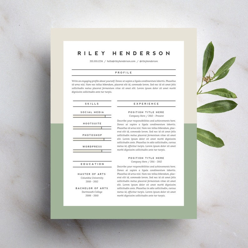 Professional Resume Template and Cover Letter Template for Word | DIY  Printable 4 Pack | The Riley | Modern and Creative 2 Page CV Design