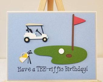 Have A TEE Riffic Birthday Handmade Card Golfing Theme Happy Gold Terrific Fun