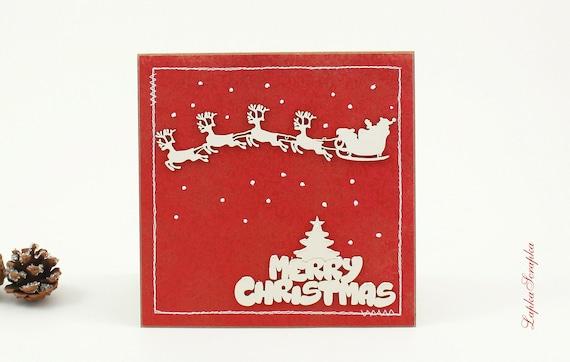 Handmade Folding 3D Christmas Deer Postcard Merry Christmas Greeting Card