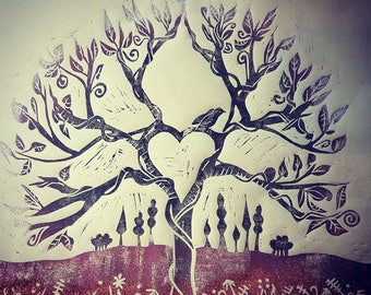 Linoprint Tree of life with embossed copper meadow and foil dipped leaves
