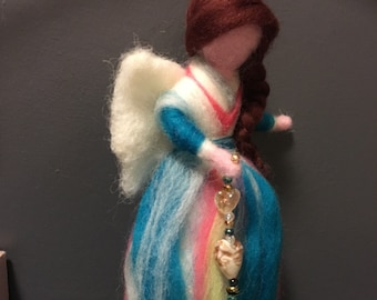 Magical Needle Felted Waldorf Style Fairy with Glass Beads and Lampwork Glass Hearts