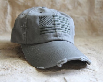 OD GREEN Distressed Special Forces Operator Tactical American US Flag Hat f91600a258c
