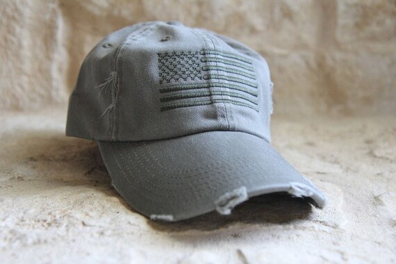 OD GREEN Distressed Special Forces Operator Tactical American US Flag Hat 2bfcece3172