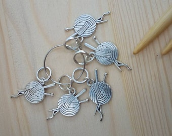 Yarn ball stitch markers for knitting, ring stitch markers, charm markers, no snag stitch markers, knitter gift, uk seller,, mothers day