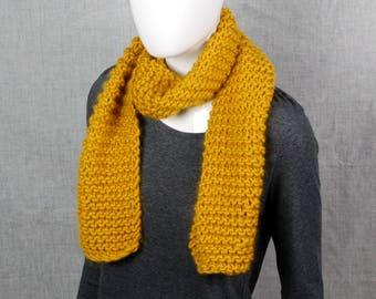 Mustard scarf, ladies scarf, hand knit scarf chunky knit scarf, giant knitting, merino wool, woolly scarf, winter scarf, winter fashion