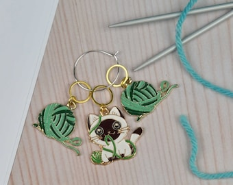 Cat stitch markers for knitting, yarn charm,  cat gift, ring stitch markers, charm markers, no snag stitch markers, knitter gift, uk seller,