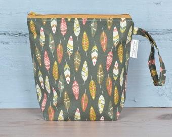 Sock project bag, sock knitting bag, small project bag, sock bag, sock sack, knitting project bag, gift for knitter, uk, zipper pouch