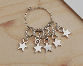 Small star stitch markers for knitting or crochet, solid ring stitch markers, knititng notions, no snag stitch markers, knitter gift, uk