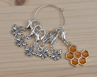 Bee stitch markers lobster clasp, removable stitch markers, progress keepers, planner charms, uk seller, crocheter gift,, the woolly tangle