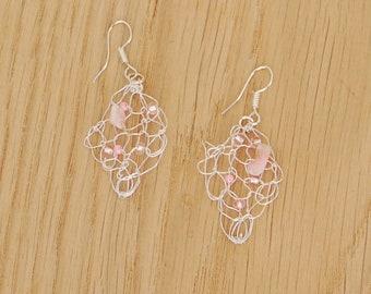 Knitted wire earrings, wire jewellery, pink opal, long earrings, gemstone earrings, uk seller, handmade earrings, pink earrings