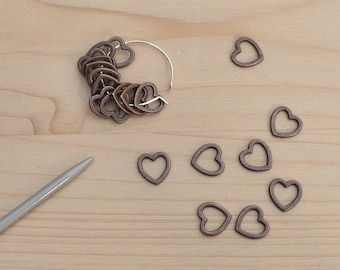 20 small lace stitch markers, ring stitch markers, snagless, lightweight, uk, sock, knitting supplies, shawl stitch markers, bronze hearts