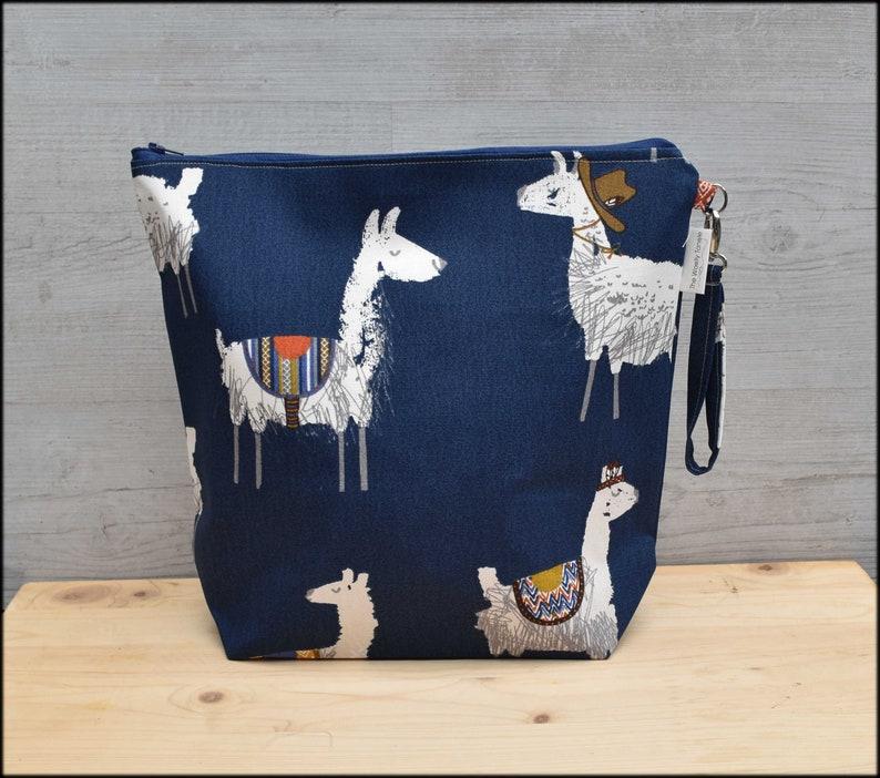 Large Llama project bag for knitting llama craft bag large image 0
