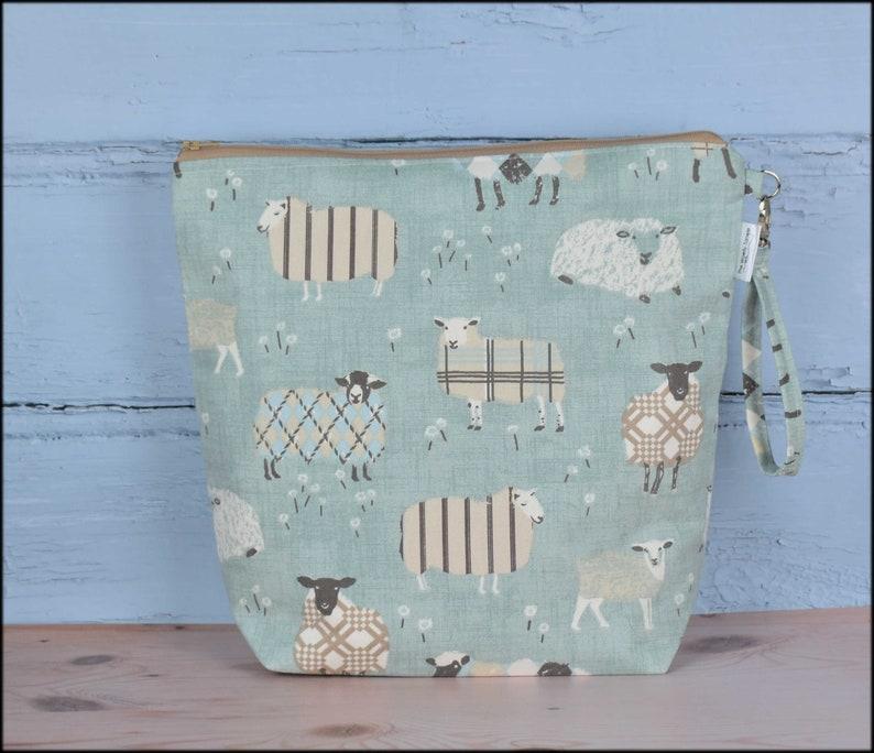 Large sheep knitting bag with handle sheep project bag gift image 0