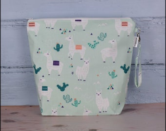 Large llama project bag for knitting, llama craft bag, project pouch, sweater, crochet, yarn bag, uk, gift for knitter, sac a projet
