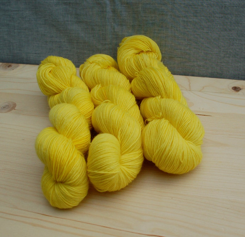 mohair yarn daffodil yellow mohair sock yarn uk knitter gift 4 ply 4 ply sock yarn Hand dyed sock yarn shawl yarn