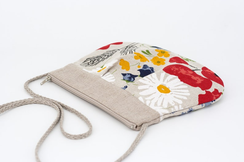 Summer Meadow Flowers Bag Linen Crossbody Purse