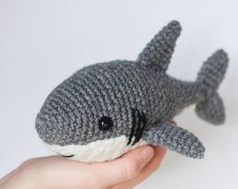 PATTERN: Shawn the shark - Crochet shark pattern - amigurumi shark pattern - crocheted shark pattern - PDF crochet pattern