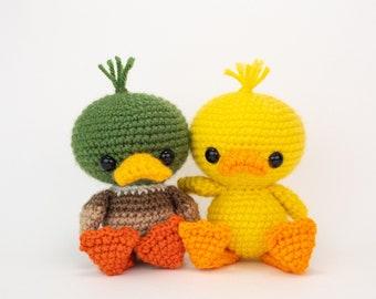 PATTERN: Dilly and Mallard the Duck Friends - Crochet duck pattern - amigurumi mallard pattern - crocheted duck - PDF crochet pattern
