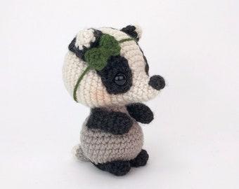 PATTERN: Blossom the Badger - Crochet badger pattern - amigurumi badger pattern - PDF crochet pattern - English Only