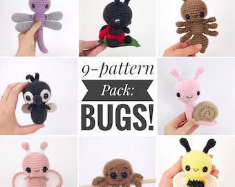 PATTERN PACK - 9 bug patterns - includes ant, bee, butterfly, caterpillar, dragonfly, fly, ladybug, snail, and spider - PDF patterns only