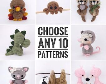 PATTERN PACK - choose any 10 patterns - customizable bulk pattern pack - PDF patterns only