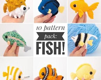PATTERN PACK - 10 fish patterns - angelfish, blue tang, yellow tang, clownfish, butterfly fish, koi, blobfish, goldfish, pufferfish, trout