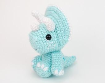 PATTERN: Theodore the Triceratops - Crochet triceratops pattern - amigurumi dinosaur pattern - crocheted dino pattern - PDF crochet pattern