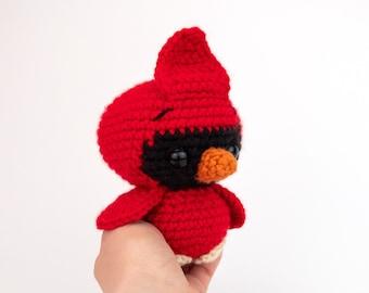 PATTERN: Clarence the Cardinal - Crochet cardinal pattern - amigurumi cardinal - crocheted cardinal bird pattern - PDF crochet pattern