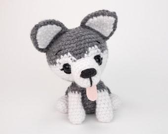 PATTERN: Ash the Husky - Crochet husky pattern - amigurumi husky pattern - crocheted husky puppy - PDF crochet pattern