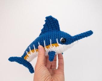 PATTERN: Monty the Marlin pattern - amigurumi marlin pattern - crocheted swordfish pattern - PDF crochet pattern