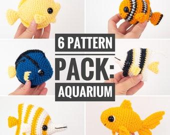 PATTERN PACK - 6 aquarium fish patterns - angelfish, blue tang, butterfly fish, clownfish, goldfish, and yellow tang - PDF patterns