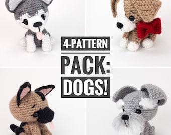 PATTERN PACK - 4 dog patterns - includes beagle, German shepherd, husky, and schnauzer - PDF patterns only