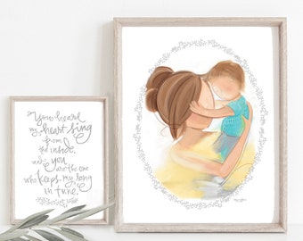 INSTANT DOWNLOAD Set of 2 Printable Art for Boys Room Decor, Mother and Son Child's Room Wall Art, Brunette Mom and Child Picture
