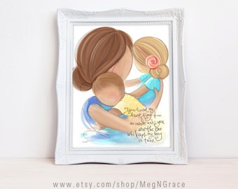 Gift for Mom or Wife - Mother Daughter Son - Mother Brunette, Daughter Blonde, Son Lt Brown - Family Wall Art Print