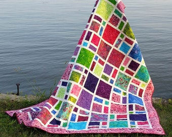 Scattered - Easy beginner quilt pattern, fast and easy to make, perfect for fat quarters, patchwork quilt