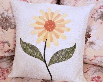 Daisy Flower Applique Pillow