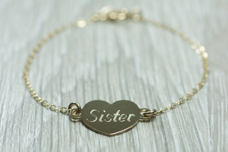 aa6a47c1cb00e Gold Filled / Sterling Silver heart charm, sister, chain bracelet, the  friendship piece of jewelry you need for your graduation gift