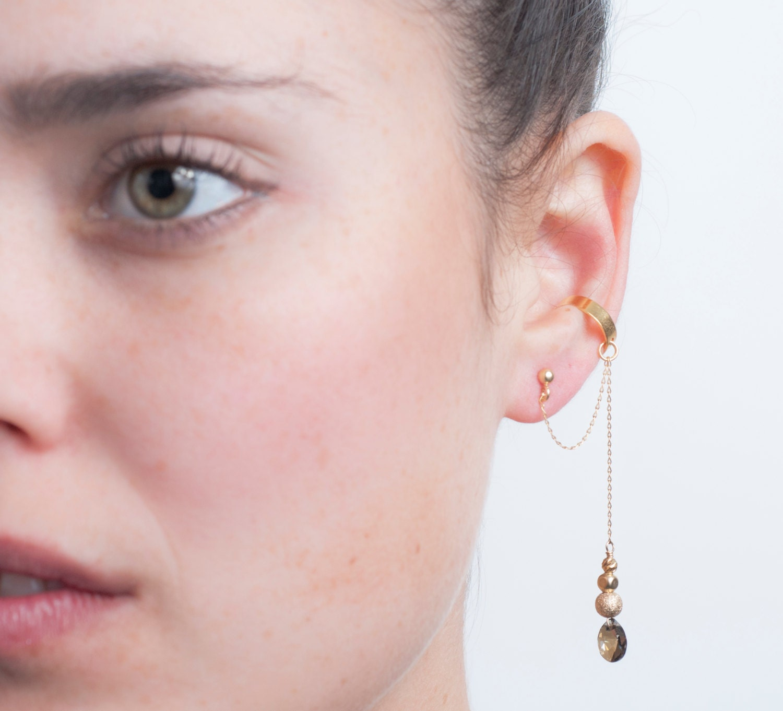 Gold Swarovski Crystal Dangle Ear Cuff Earring Unique Gift
