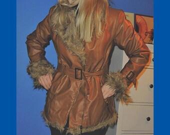 SALE -20% ! Cher 70s Vintage Brown Leather & Fur Coat Jacket Penny Lane