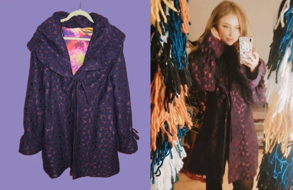 Tapestry Purple Vintage Coat / 1980s / Jacket / Mu
