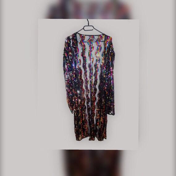 Multicolor Rainbow Sequin long jacket / overcoat /